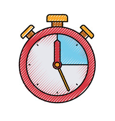 colored crayon silhouette of stopwatch icon vector image