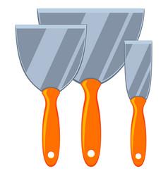 Colorful cartoon metal spatula set vector