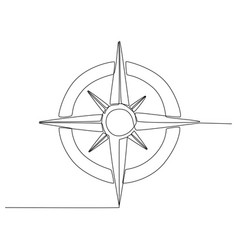 Continuous line drawing compass vector