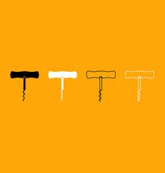 corkscrew black and white set icon vector image