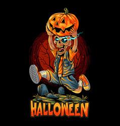 Cute halloween zombies running with pumpkin vector