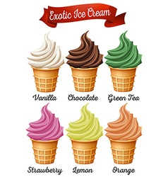 Different flavour of icecream cones vector image