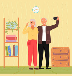 Elderly couple holding mobile phone and taking vector