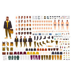 Fat man creation set or diy kit collection of vector