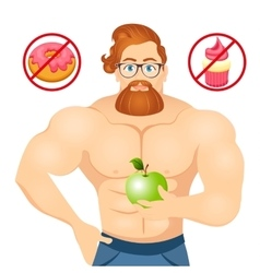 Fitness concept with sport bodybuilder Bearded vector