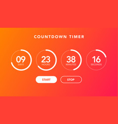 flat digital clock timer countdown for website vector image