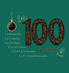 floral card number one hundred and pocket watch vector image