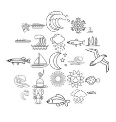 Fluid icons set outline style vector