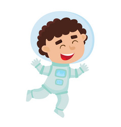 Flying astronaut kid isolated on white background vector