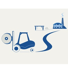 Forklift transporting roll of paper vector