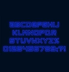 futuristic neon font blue alphabet with numbers vector image