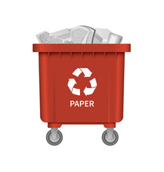 Garbage paper container mockup realistic style vector