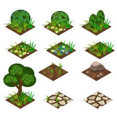 garden or farm isometric tile set vector image