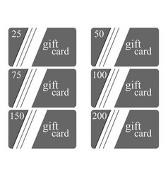 Gift cards in the style of material design with vector