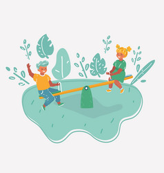 girl and boy playing seesaw vector image