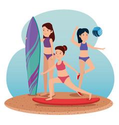 Girls practice exercise balance activity vector