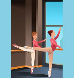 girls practicing ballet vector image