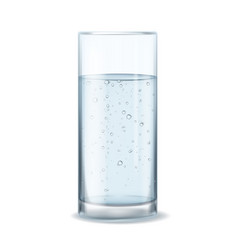 Glass with water bubbles natural mineral water vector