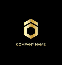 gold polygon shape technology logo vector image