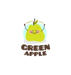 green apple mascot logo vector image
