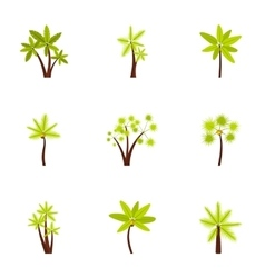 Green palms icons set flat style vector