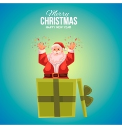 Greeting card with cartoon Santa Claus popping out vector image