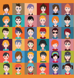 group of people men and women avatar icons vector image