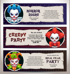 Halloween celebration event banners with scary vector