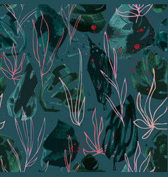 hand drawn seamless pattern with dark green leaves vector image