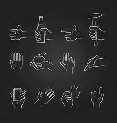 hand icons with tools and elements on chalkboard vector image