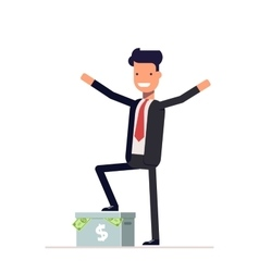 Happy businessman or manager standing on a carton vector image