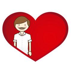 Happy man wth moustache inside heart vector