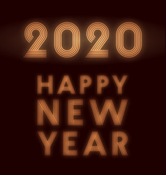 happy new year 2020 background retro neon design vector image