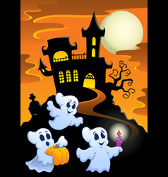 Haunted mansion with ghosts 1 vector