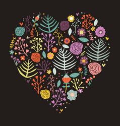 heart shape floral dark background vector image