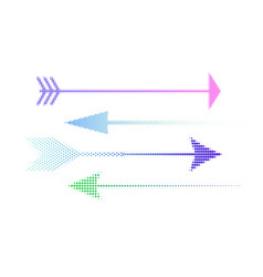icons of colored halftone arrows set of abstract vector image