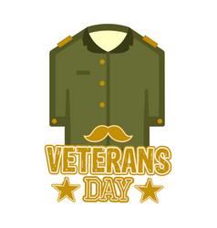 Isolated captain uniform veteran day label vector