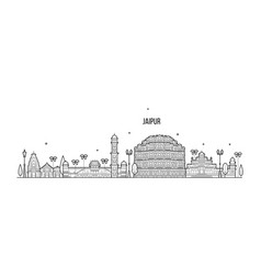 jaipur skyline rajasthan india city linear vector image