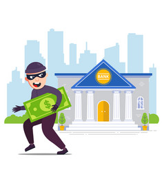 Joyful robber with money runs away from bank vector