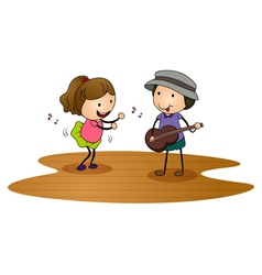 Kids playing guitar vector