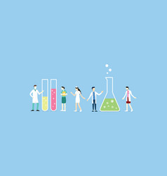 laboratory team with chemical tube set collection vector image