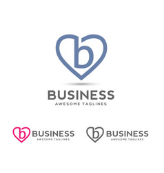 Letter b with heart outlines logo vector
