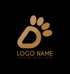 letter d paw logo icon logo symbols vector image