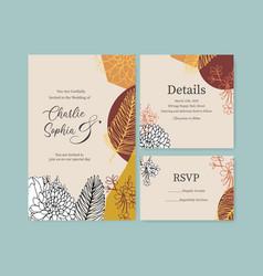 line art tropical flower for wedding invitation vector image