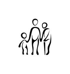 linear icon with a child adult and old man vector image