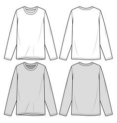 Long sleeve tee fashion flat sketch template vector
