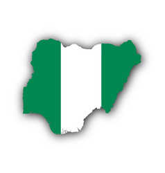 map and flag of nigeria vector image
