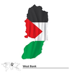 Map of West Bank with flag vector image