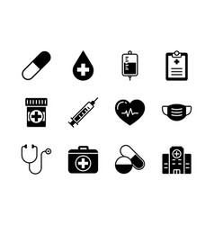 medical and healthcare icon set glyph style vector image