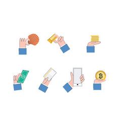 money evolution concept from barter bitcoin vector image